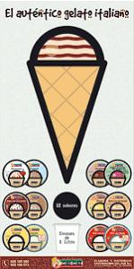 Diseño gráfico de cartel de helados italianos