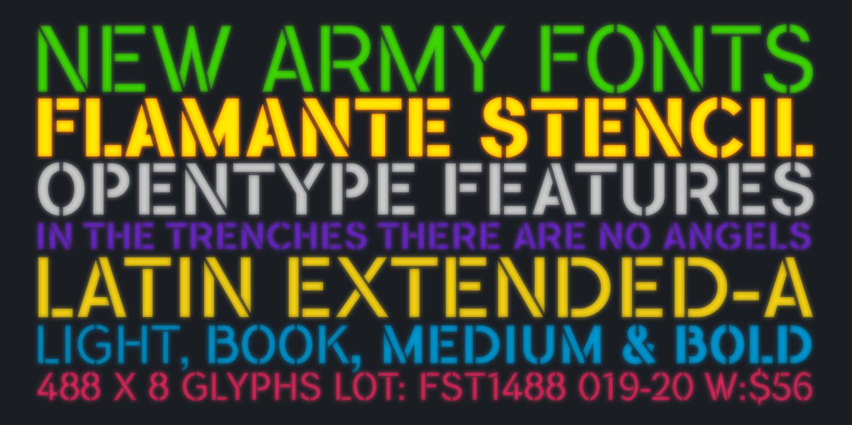 Flamante Stencil, nueva familia de fuentes militares Sans Serif