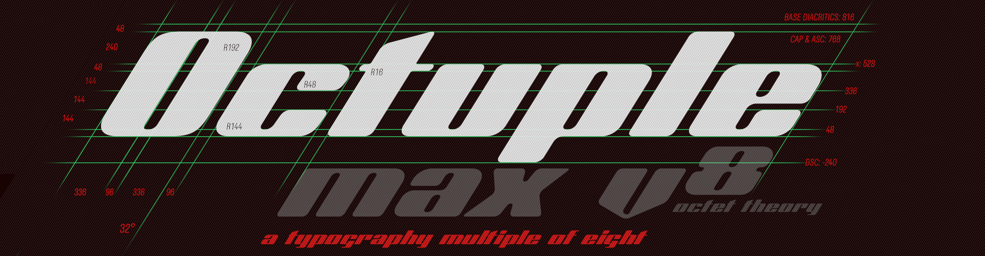 Octuple max v8 - a typography multiple of eight
