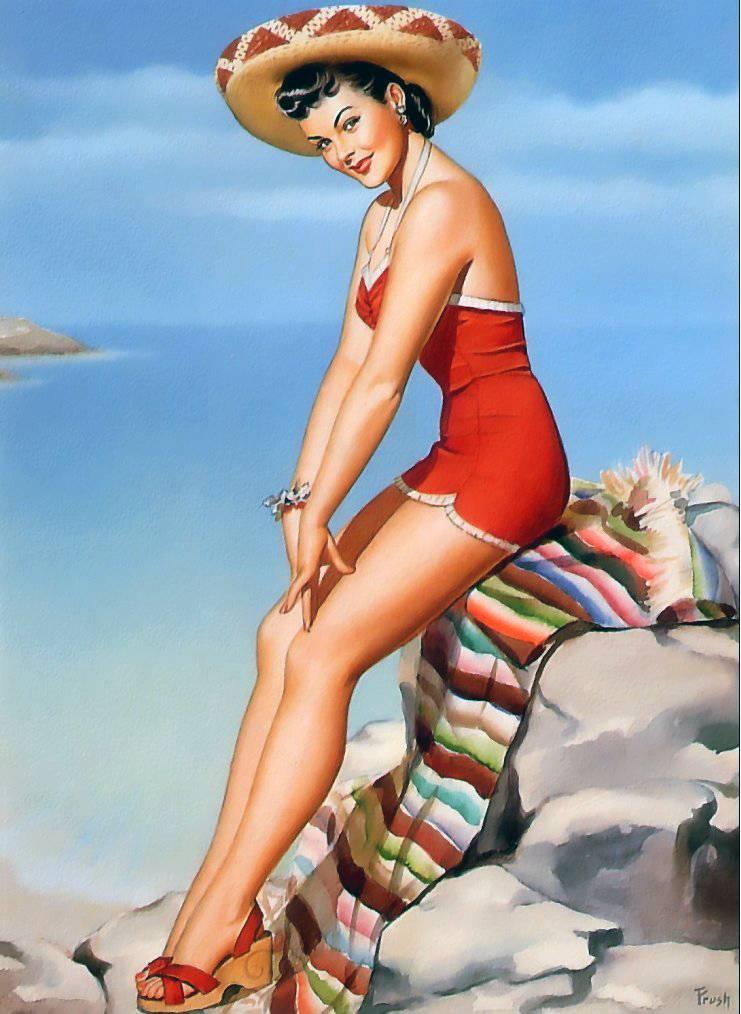 Perla Frush Pin Up Art 4 reproducción de cartel vintage. : revista obras de arte