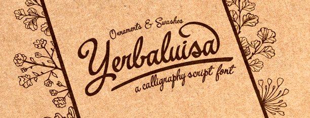 Yerbaluisa, letra caligráfica